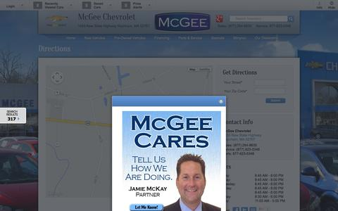 Screenshot of Maps & Directions Page mcgeechevrolet.com - Directions to McGee Chevy | New Chevrolet dealership in Raynham, MA 02767 - captured Oct. 6, 2014