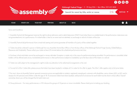 Screenshot of Terms Page assemblyfestival.com - Terms & Conditions | Assembly Festival – Edinburgh Fringe - captured July 26, 2016