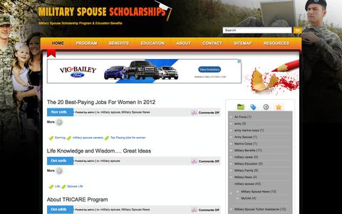 Screenshot of Home Page militaryspousescholarships.com - Military Spouse & Family Scholarships Program w/ Education Benefit - captured June 23, 2016