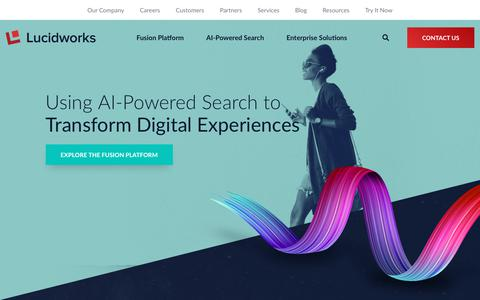 Screenshot of Home Page lucidworks.com - Lucidworks: AI Powered Search Solutions for the Enterprise - captured June 27, 2019