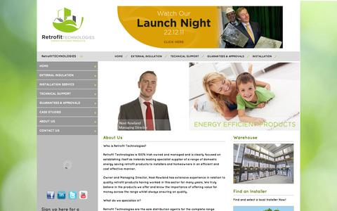 Screenshot of About Page retrofittech.ie - Noel Rowland, the apprentice 2011, external wall insulation, Retrofit Energy Efficient Products  - Retrofit Technologies - captured Oct. 26, 2014