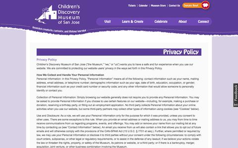Screenshot of Privacy Page cdm.org - Privacy Policy   Children's Discovery Museum of San Jose - captured June 30, 2017