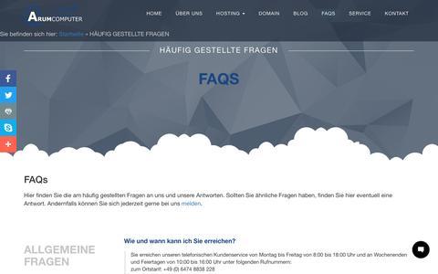 Screenshot of FAQ Page arum-computer.de - FAQs - häufig gestellte Fragen an ARUM Computer - captured May 28, 2017