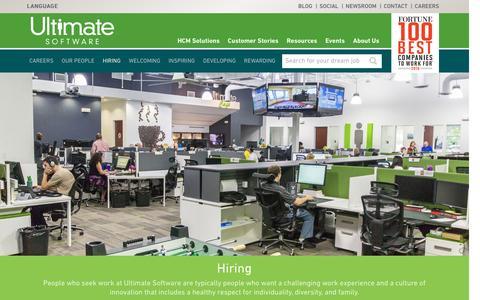 Screenshot of Jobs Page ultimatesoftware.com - Hiring - Ultimate Software Global Human Resource Management - captured Jan. 14, 2017