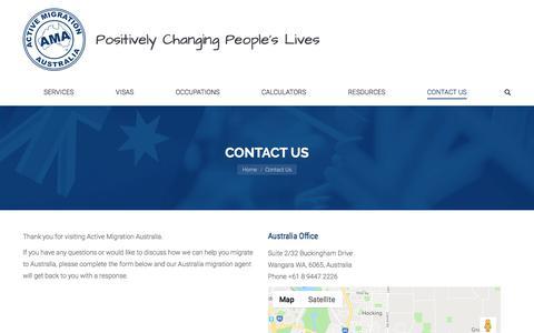 Screenshot of Contact Page activemigration.com.au - Contact Our Australia Migration Agent - Active Migration Australia - captured Sept. 18, 2019