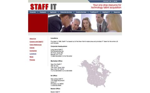 Screenshot of Locations Page staffitinfo.com - Staff I.T. - Locations - captured Oct. 6, 2014