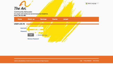 Screenshot of Login Page communityadvocates.org - User Log In - captured Oct. 27, 2014