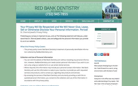 Screenshot of Privacy Page redbankdentistry.com - Dr Sherrod Jewell's Privacy Policy - Red Bank New Jersey Dentist – Reconstructive Dentist in Red Bank NJ | Red Bank Dentistry - captured June 12, 2017