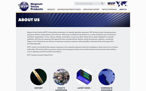 Screenshot of About Page mvpind.com - About Us - Magnum Venus Products - captured Oct. 4, 2014