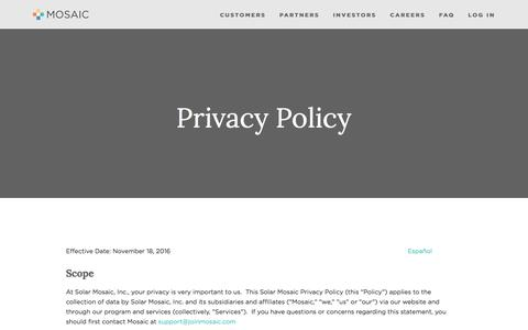 Privacy Policy — Mosaic