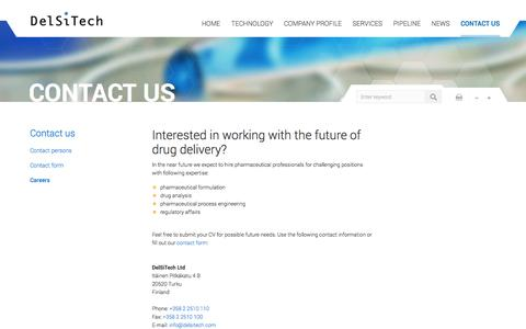 Screenshot of Jobs Page delsitech.com - Interested in working with the future of drug delivery? | DelSiTech Oy - captured Oct. 5, 2014