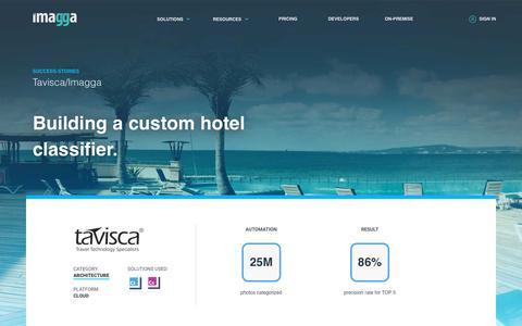 Screenshot of Case Studies Page imagga.com - Case-study: Tavisca uses Imagga API to build a custom classifier and categorize more than 25M photos | Imagga Technologies Ltd. - captured June 21, 2018