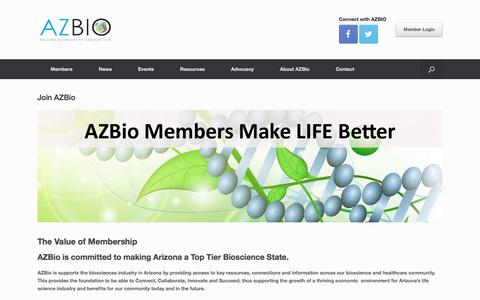 Screenshot of Signup Page azbio.org - Join AZBio | AZBio - captured Jan. 27, 2017