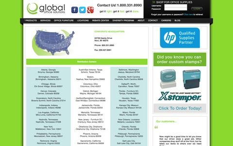 Screenshot of Locations Page globalofficesolutions.com - Global Office Solutions - captured July 19, 2018