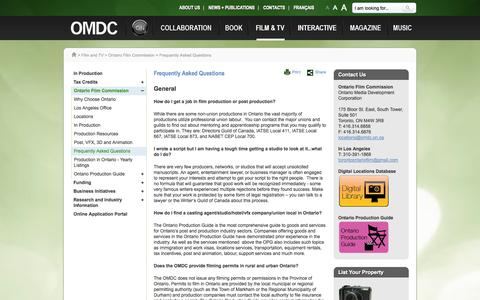 Screenshot of FAQ Page omdc.on.ca - Frequently Asked Questions - captured Oct. 26, 2014