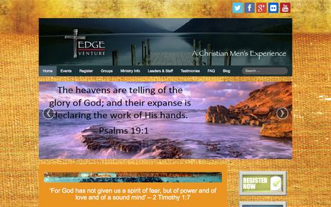 Screenshot of Home Page edgeventure.org - Home - Edge Venture / A Men's Christian Ministry - captured Oct. 2, 2014