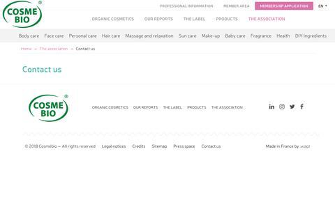 Screenshot of Contact Page cosmebio.org - Contact us - Cosmebio - captured June 1, 2018