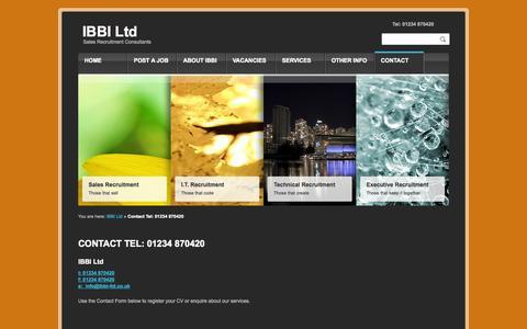 Screenshot of Contact Page ibbi-ltd.co.uk - Sales Recruitment Consultants Contact IBBI on 01234 870420IBBI Ltd - captured Sept. 30, 2014