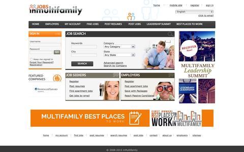 Screenshot of Home Page jobsinmultifamily.com - Apartment Jobs | Apartment Career Listings - captured Sept. 7, 2015