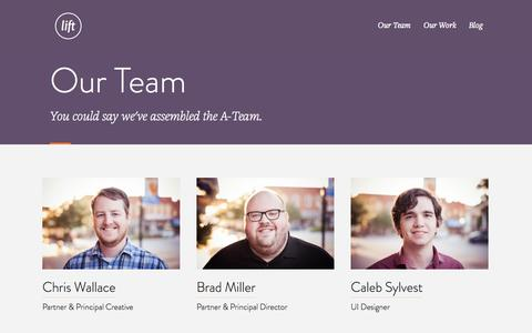 Screenshot of Team Page liftux.com - Our Team at Lift - captured Oct. 28, 2014