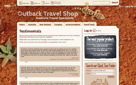 Screenshot of Testimonials Page outbacktravelshop.com.au - Testimonials » Outback Travel Shop - captured Oct. 7, 2014