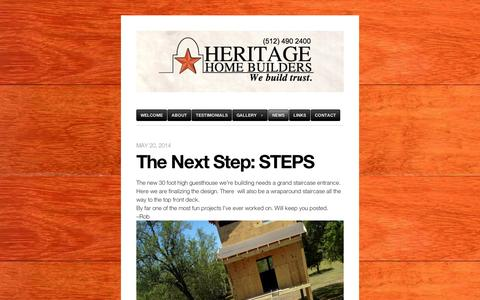 Screenshot of Press Page wordpress.com - news | Heritage Home Builders | nothing short of spectacular - captured Sept. 12, 2014