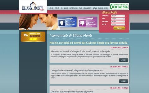 Screenshot of Press Page elianamonti.it - Agenzia matrimoniale Eliana Monti - captured Nov. 3, 2014