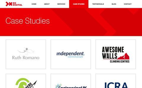Screenshot of Case Studies Page dxdigital.co.uk - Case Studies | DX Digital Ltd - captured Oct. 5, 2014