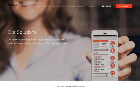 Screenshot of Services Page obopay.com - OBOPAY Mobile Payment Solutions : Services - captured Nov. 8, 2018
