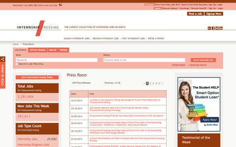 Screenshot of Press Page internshipcrossing.com - InternshipCrossing.com News, Press Room, Press Releases | InternshipCrossing.com - captured Sept. 19, 2018