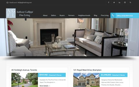 Screenshot of Home Page agfineliving.com - Toronto Real Estate & Fine Living | Anthony Gallippi Fine LivingAnthony Gallippi Fine Living - captured Sept. 30, 2014
