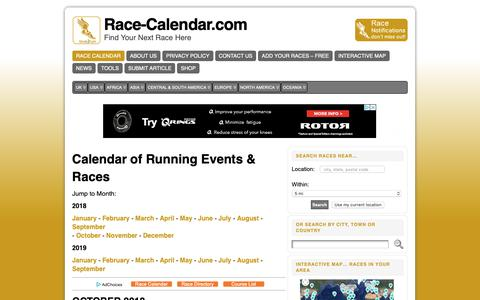 Screenshot of Home Page race-calendar.com - Directory and Calendar Running and Endurance Events - captured Oct. 19, 2018