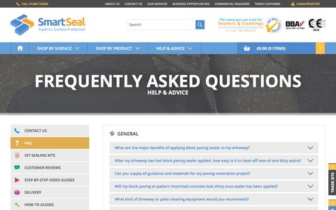 Screenshot of FAQ Page smartseal.co.uk - Frequently Asked Questions - Smartseal - captured Feb. 17, 2016