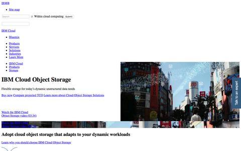 Screenshot of ibm.com - IBM Cloud Object Storage - captured July 25, 2017