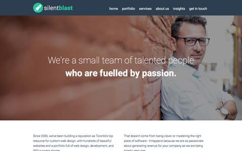 Screenshot of About Page silentblast.com - About Silentblast | Web Design Agency in Toronto - captured Jan. 20, 2016