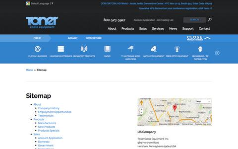 Screenshot of Site Map Page tonercable.com - Sitemap | Toner Cable - captured Oct. 7, 2014