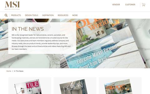 Screenshot of Press Page msistone.com - In the News | M S International, Inc. | Premium Surfaces - captured April 23, 2018