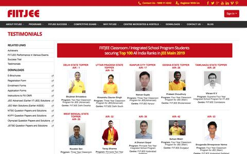 Screenshot of Testimonials Page fiitjee.com - FIITJEE - captured Sept. 12, 2019