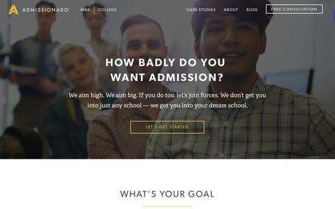 Screenshot of Home Page admissionado.com - Admissionado - captured Sept. 19, 2015