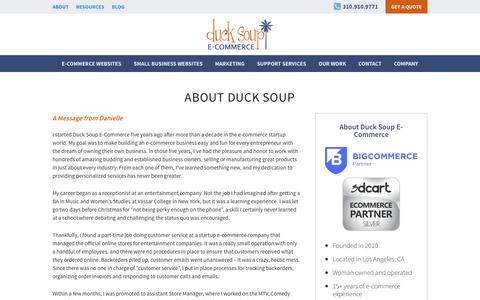 Screenshot of About Page ducksoupecommerce.com - E-Commerce Experts | BigCommerce, 3dCart, Wordpress | Los Angeles Web Design - captured June 5, 2017