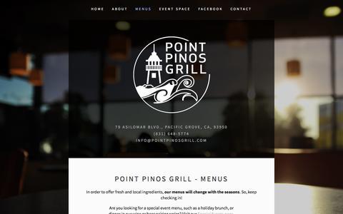 Screenshot of Menu Page pointpinosgrill.com - Menus — Point Pinos Grill - captured April 3, 2016