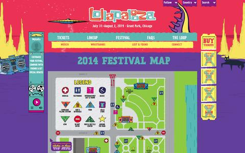 Screenshot of Maps & Directions Page lollapalooza.com - 2014 Festival Map | Lollapalooza 2015 - captured Nov. 2, 2014
