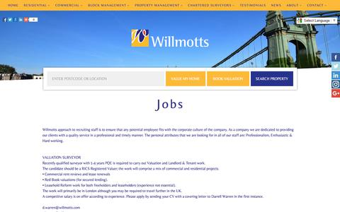 Screenshot of Jobs Page willmotts.com - Jobs | Estate Agents in Hammersmith  » Willmotts Property West London - captured Nov. 16, 2017