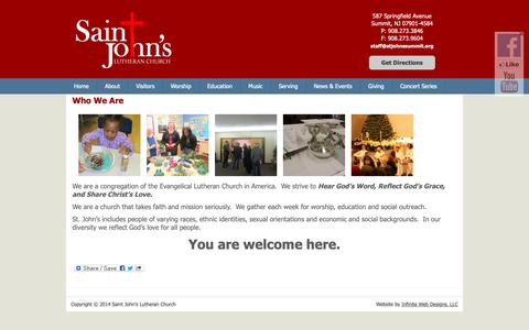 Screenshot of About Page stjohnssummit.org - Who We Are | Saint John's Lutheran Church - captured Oct. 18, 2018