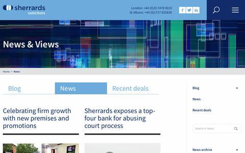 Screenshot of Press Page sherrards.com - News - captured Nov. 15, 2017