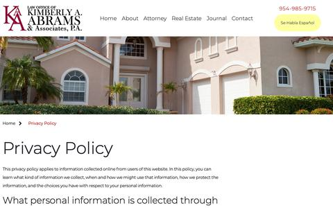 Screenshot of Privacy Page abramsrealestatelaw.com - Privacy Policy | Law Office of Kimberly A. Abrams & Associates, P.A. | - captured Sept. 27, 2018