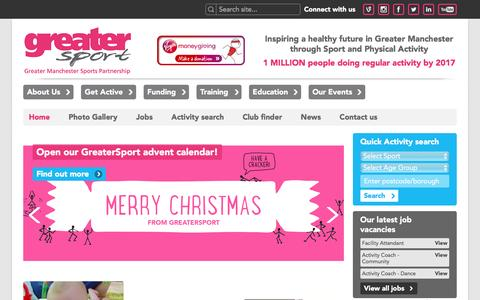 Screenshot of Home Page greatersport.co.uk - GreaterSport | Home - captured Dec. 14, 2015
