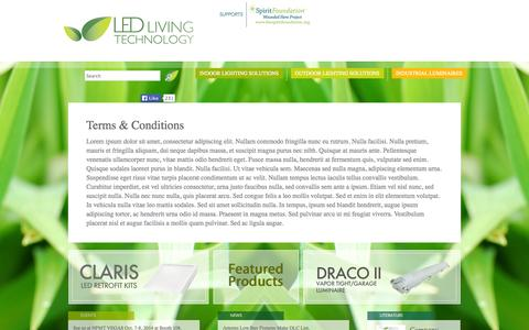 Screenshot of Terms Page ledlivingtechnology.com - LED Living Technology -   Terms & Conditions - captured Sept. 26, 2014