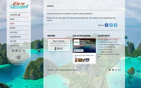 Screenshot of Jobs Page papuaexplorers.com - Careers - Papua Explorers Resort - captured Oct. 20, 2016
