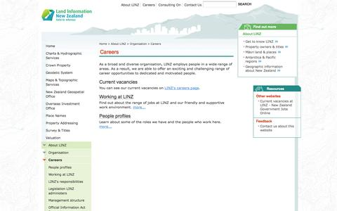 Screenshot of Jobs Page linz.govt.nz - Careers | Land Information New Zealand (LINZ) - Toitū te whenua - captured Sept. 23, 2014